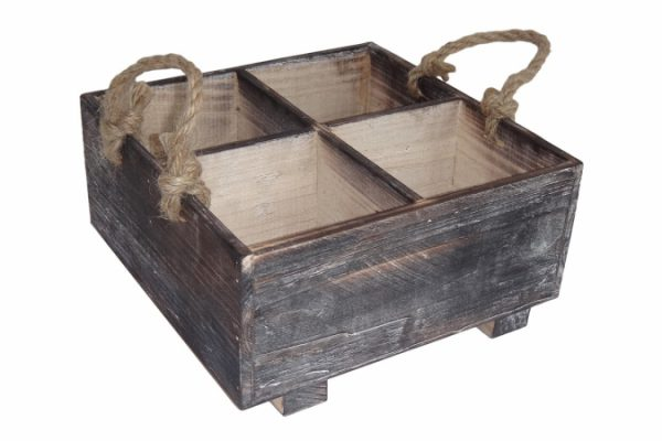 Cheung's FP-3687 Wooden Garden Planter with Rope Handle and Feet