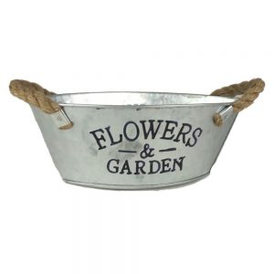 DH118FG1 9 in. Galvanized Steel Flowers & Garden Planter
