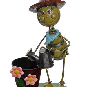 Gordon 32021272 13.5 in. Vintage Bee with Watering Can Decorative Spring Outdoor Garden Planter
