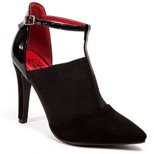 Hilton 3.5 in. Heel T-Strap with Elastic Faux Sue & Pat, Black - Size 40