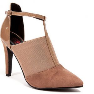 Hilton 3.5 in. Heel T-Strap with Elastic Faux Sue & Pat, Taupe - Size 41