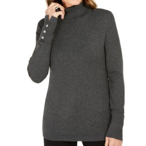Jm Collection Stud-Sleeve Pullover Turtleneck Sweater, Created for Macy's