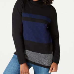 Karen Scott Colorblocked Cotton Turtleneck Sweater, Created for Macy's