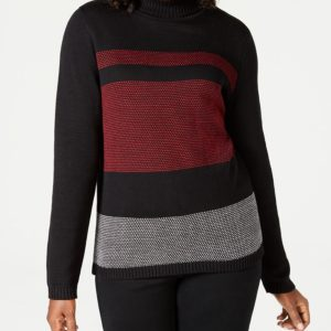 Karen Scott Petite Colorblocked Cotton Turtleneck Sweater, Created For Macy's