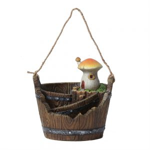 Luxen Home WH026 Miniature Fairy Garden Mushroom House Bucket Planter