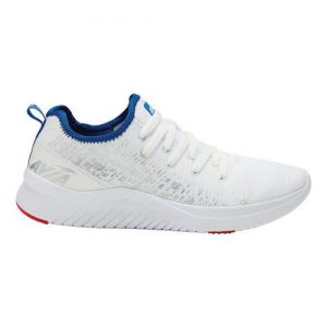Men's Avia Avi-Cross Sneaker, Size: 8.5 4E, Bright White/Silver/Chinese Red/Dazzling Blue