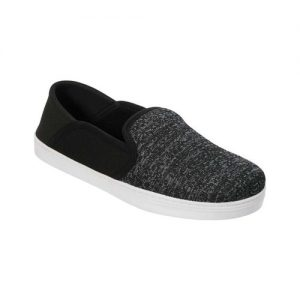Men's Dearfoams Knit Fold Down Closed Back Slipper, Size: M M, Black Variegated Knit/Fine Mesh