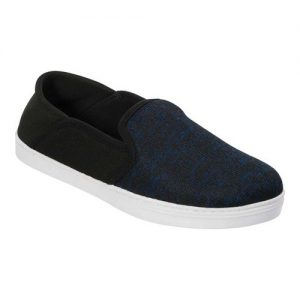 Men's Dearfoams Knit Fold Down Closed Back Slipper, Size: S M, Navy Blazer Variegated Knit/Fine Mesh