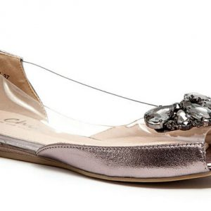 Miami Lucite Toe Heel Quarter & Matching Stone Ornament with Cap, Pewter - Size 36