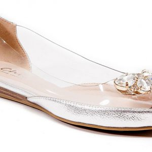 Miami Lucite Toe Heel Quarter & Matching Stone Ornament with Cap, Silver - Size 35