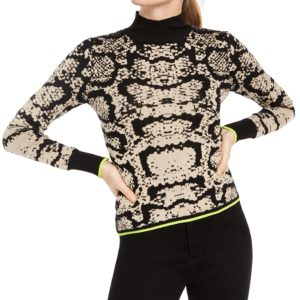 Planet Gold Juniors' Snake Print Turtleneck Sweater