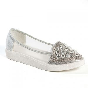 Sky Fashion Sneaker with Stones Shoe, Silver - Size 40