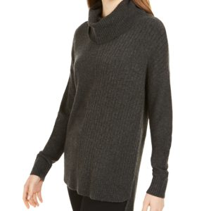 Style & Co Mixed-Stitch Ribbed Turtleneck Tunic Sweater, Created For Macy's