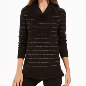 Style & Co Petite Metallic-Striped Turtleneck Sweater, Created For Macy's