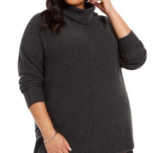 Style & Co Plus Size Mixed-Ribbed Turtleneck Tunic Sweater, Created For Macy's
