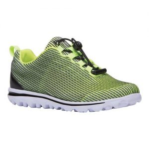 Women's Propet TravelActiv Xpress Sneaker, Size: 6 2E, Black/Citron Nylon