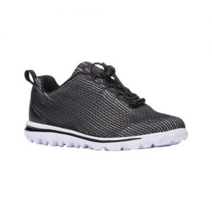 Women's Propet TravelActiv Xpress Sneaker, Size: 9.5 4E, Black/White Nylon